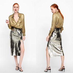Zara Sequin Pencil Skirt